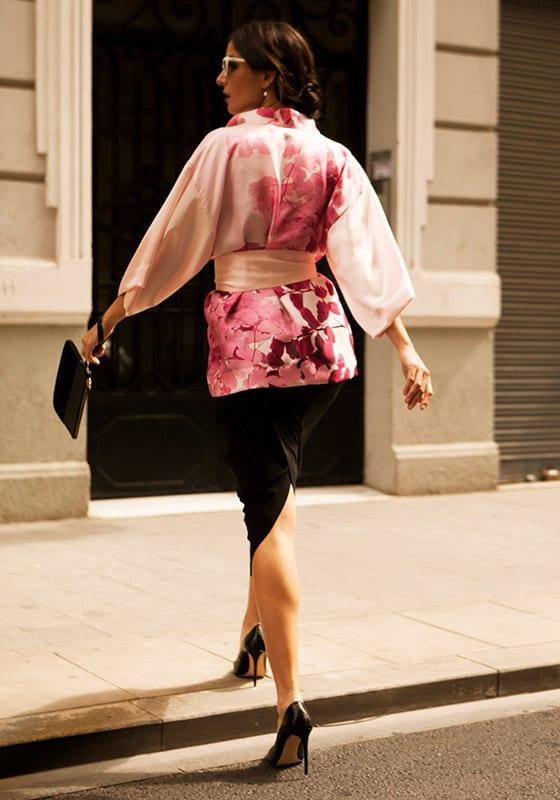 kimonos largos de seda para mujer